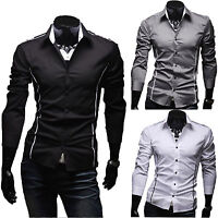Luxury Fashion Men Slim Fit Shirt Long Sleeve Formal Dress Shirts Casual Tops
