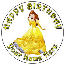 "DISNEY PRINCESS BELLE - 7.5"" PERSONALISED ROUND EDIBLE ICING CAKE TOPPER"