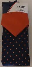 NEW!! IZOD Blue, Orange Polka Dot Tie & Pocket Square