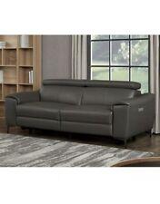 Kuka Warren 3 Seater DK Grey Leather Power Reclining Sofa