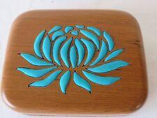 Rachana Reddy Teak Purse Bag Seafoam Lotus Flower Teak Wood Cotton Silk  #5042