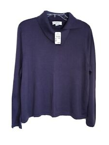 CJ Banks 1X Long Sleeve Shawl Neck Plum Pullover Sweater NEW
