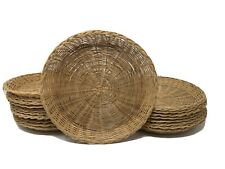 20 Vintage Wicker Paper Plate Holders Bamboo Rattan