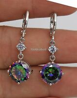 18K White Gold Filled - 10MM MYSTICAL Topaz Round Women Cocktail Hoop Earrings