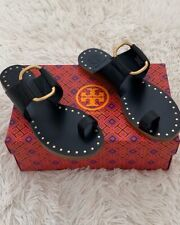 NIB TORY BURCH Ravello Toe Ring Studded Leather Flat Sandal Sz 6 In Black