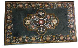 "48"" x 32"" Green Marble Table Top Pietra Dura Work Handmade Home Furniture"