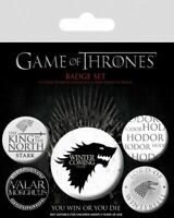GAME OF THRONES Official Pin Backed Badge Pack WINTER IS COMING