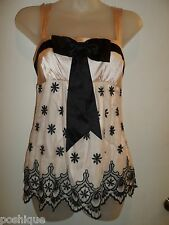 bebe XS Top NWT Embroidered Mesh Top Black Bow Nude Floral Chic Tunic Party Chic