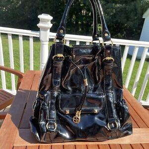 IMAN Global Chic Black Faux Patent Leather Large Shoulder Bag Tote Gold Hardware