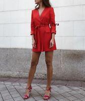 NEW SS18 ZARA BLAZER STYLE RED DRESS REF 2450/682 SIZE XS CHAQUETA VESTIDO ROJO