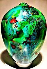 SIGNED PETER LAYTON British Studio Art Glass vase