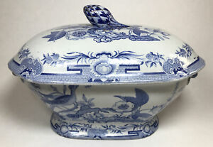 Antique Hicks & Meigh Pre 1830 Blue & White Transferware Tureen Stone China No2
