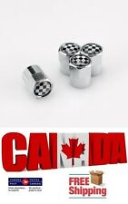 4pcs Set Car Checker F1 Flag Checkered Wheel Valve Tire Air Caps Valve Stems