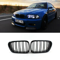 For 98-02 BMW E46 2 Door 2D Coupe Gloss Black Dual Slat Kidney Grille Grill