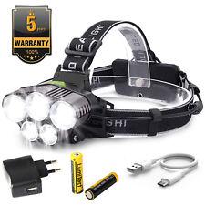 80000LM Lampe frontale 5 XM-L T6 LED USB Rechargeable Étanche Torche 6 Modes