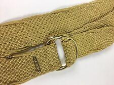 LAUREN Ralph Lauren Women's Size XL Adjustable Gold Woven Braided Belt D-Ring