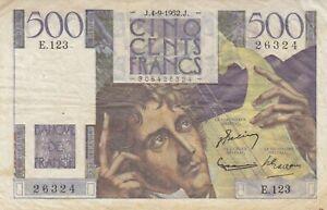 Billet 500 F Chateaubriand du 4-9-1952 FAY 34.10 Alph. E.123