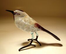 "Blown Glass ""Murano"" Art Animal Figurine White and Black Bird SPARROW"