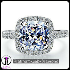 3.00Ct Princess Lab Grown Diamond Real Platinum PT950 Engagement Gold Ring TAMMY