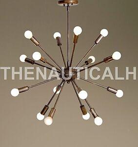 Mid Century Modern Patina Brass Sputnik Chandelier 16 Arms Sputnik Light