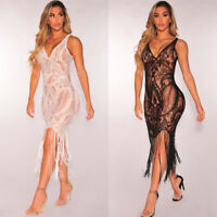 Sexy Women Sundress Summer Lace Tassels Short Evening Cocktail Party Beach Dress