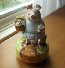 Schmid Beatrix Potter music box figurine~Little Pig Robinson~orig paper label-Nr