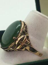 14K Rose & Yellow Gold & Cabochon New Zealand Jade/Greenstone Vintage Ring