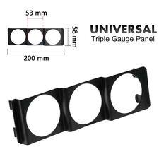 "Universal 52mm Triple 3 Gauge Meter Radio Din in Dash Panel Pod Black 2"" Panel"