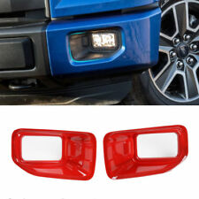 Red ABS Front Fog Light Lamp Frame Cover Trim For Ford F150 F-150 2015-2018