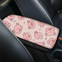 Cute Pink Pig Car Armrest Cushion Pad Soft Comfort Center Console Box Cover Mat