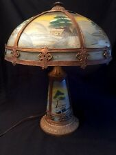 Antique Reverse Painted Lamp 6 Panel Glass Shade 3 Panel Base 3 Meteor Lights