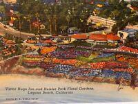 Floral Gardens Heisler Park & Victor Hugo Inn Laguna Beach CA Vintage Postcard