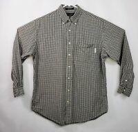 Daniel Cremieux Green Brown Plaid Shirt Size Medium Mens Cotton Button Down