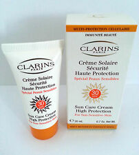 CLARINS SUN CARE CREAM - SPF30 - BNIB - 20ml - IDEAL FOR TRAVEL - 30,000 F/BACK