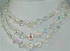 VINTAGE 1950S AB CRYSTAL 3 STRAND NECKLACE