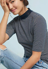 ANTHROPOLOGIE T.La NAVY BLUE WHITE ELBOW SLEEVE MOCK NECK STRIPED TOP Sz M