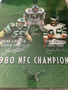 Bill Bergey / Bunting / LeMaster 16x20 Auto Eagles 1980 NFC Champions Photo JSA