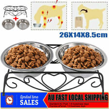 Dual Eleaed Pet Feeder 2 Steel Bowls Cat Dog Raised Food Water Bowl Lifted Stand