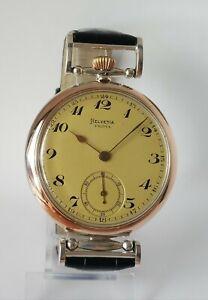 Helvetia Luxury Antique 1910's Vintage Wristwatch Men's Gift, Solid Silver Case