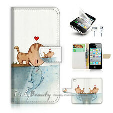 ( For iPhone 4 / 4S ) Flip Case Cover! P1626 Cat Fish Kiss