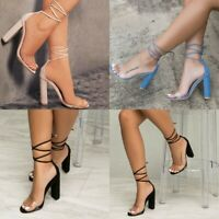 Womens Ankle Strap Block High Heels Ladies Open Toes Lace Up Shoes Size 5-8.5