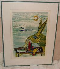 Impresión de madera cubierta mesita te de Wolfgang fangosos original firmado
