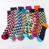 Mens Combed Cotton Happy Socks Colorful Grid Diamond Casual Dress Socks 9 Colors
