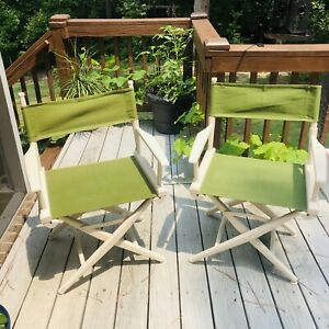 Pair (2) Retro Folding Directors Chair White Wood with Green Canvas Seat / Back