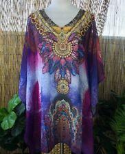 Plus Size Sheer Chiffon Embellished Kaftan One Size Fits All 12-14-16-18-20-22