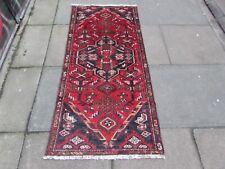Vintage Worn Traditional Hand Made Oriental Red Blue Wool Short Runner 171x81cm
