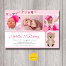 Girl's Printable Birthday Invitations 1st Birthday Any Age Teddy Bear Love Heart