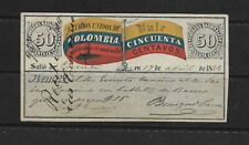 COLOMBIA 1884 INSURED LETTER COVER 50 CENTS SC:G7b  CUNDINAMARCA WMK (S686)