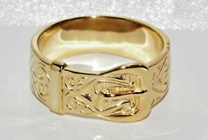 9ct Yellow Gold on Silver Chunky Buckle Ring ALL SIZES AVAILABLE Men's or Ladies