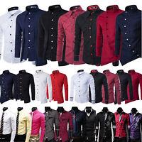 Luxury Mens Slim Fit Shirt Long Sleeve Stylish Formal Casual T-shirt Tops Dress
